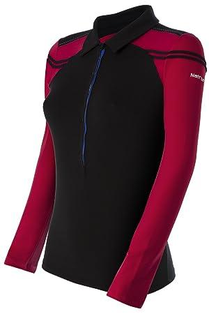 Naffta Paddle-Tennis - Camiseta de manga larga para mujer, color negro / borgoña, talla S: Amazon.es: Zapatos y complementos