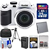 Kodak PIXPRO AZ421 Astro Zoom Digital Camera (White) 32GB Card + Case + Battery/Charger + Tripod + Kit