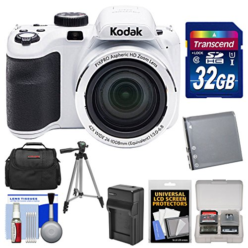 KODAK PIXPRO AZ421 Astro Zoom Digital Camera (White) with 32GB Card + Case + Battery/Charger + Tripod + Kit by Kodak