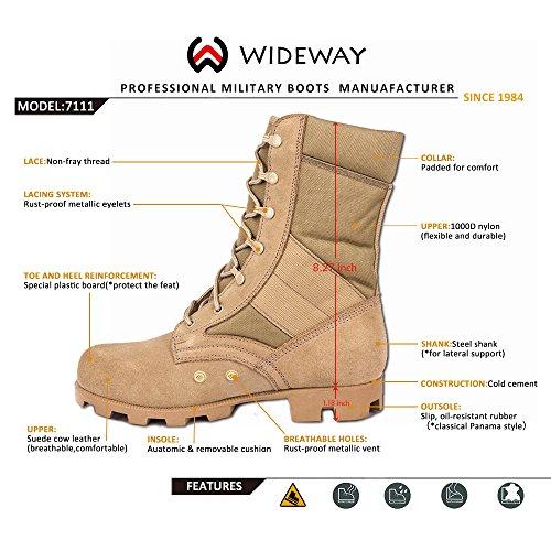 Wideway Heren Militaire Jungle Laarzen Volnerfleer Speedlace Woestijnlaarzen Combat Outdoor Work Waterbestendig Laarzen Zand