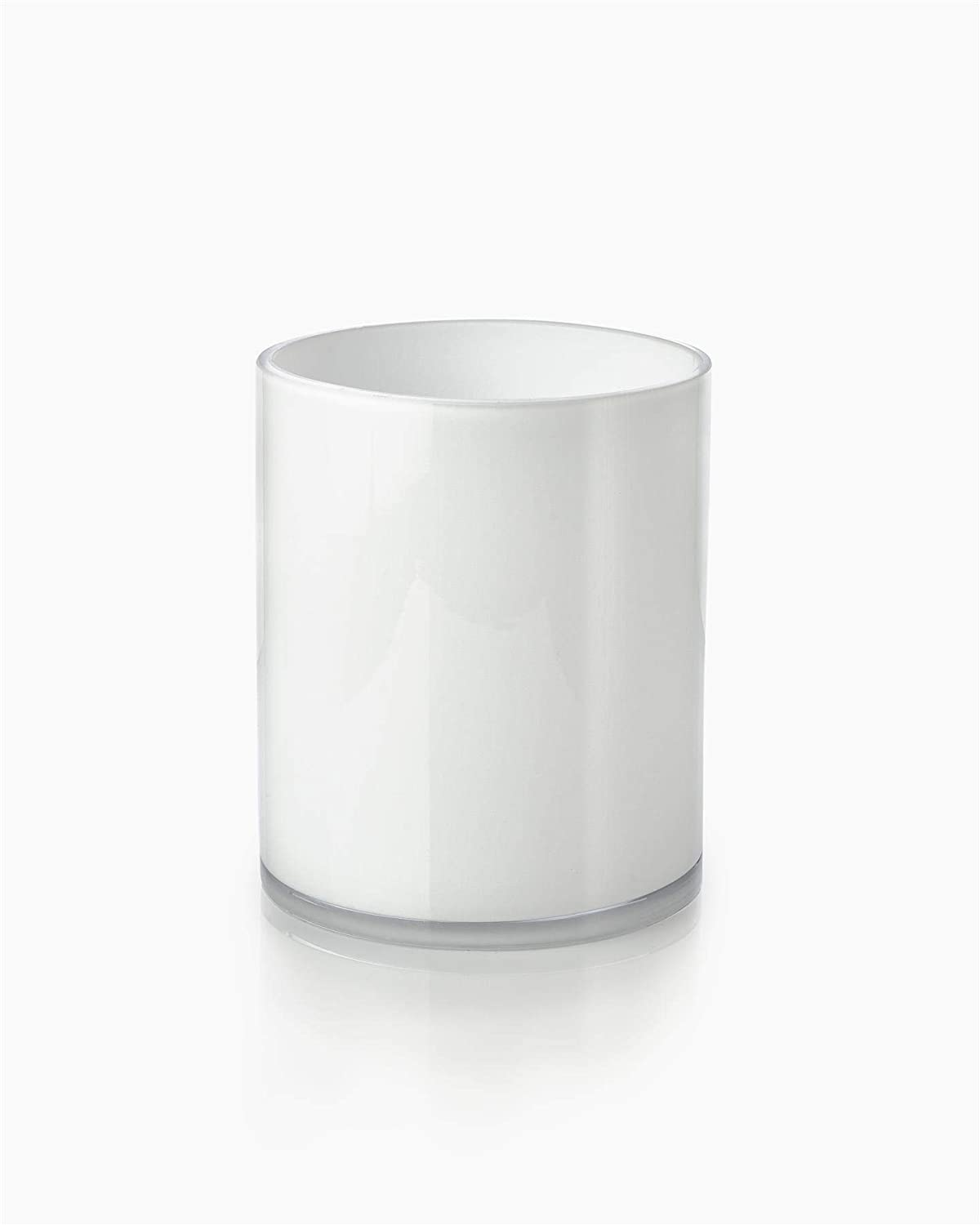 "Serene Spaces Living White Glass Cylinder Vase – Smart Modern White Design, Décor Accent, Use for Weddings, Parties, Events, Home Decor, 6"" Tall by 5"" Diameter"