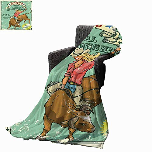 vanfan-home Retro Faux Fur Throw Blanket,Rodeo Cowgirl on The Bull Annual Championship Vintage Poster Pattern Grunge Design Reversible Soft Fabric for Couch Sofa Easy Care (70