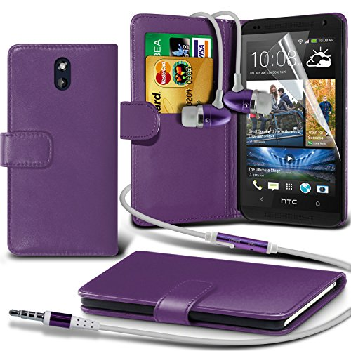 Fone-Case ( Purple ) HTC Desire 610 Faux Stylish PU Leather Wallet Credit / Debit Card Flip Case Skin Cover With Screen Protector Guard & Aluminium In Ear Earbud Stereo Hands Free Headphones Earphone Headset with Built in Microphone Mic & On-Off Button