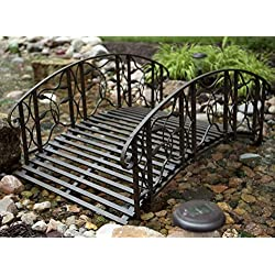 Home Improvements Weathered Black Finish Metal 4 Foot Garden Bridge Outdoor Yard Lawn Landscaping