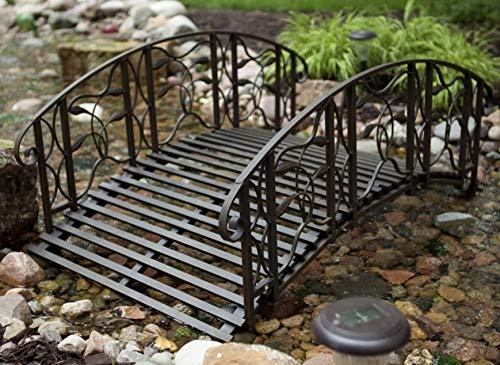 Home Improvements Weathered Black Finish Metal 4 Foot Garden Bridge Outdoor Yard Lawn Landscaping