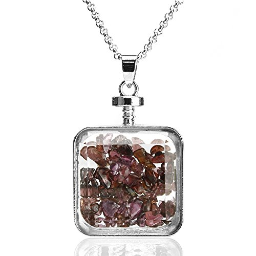 BEADNOVA Square Glass Wishing Bottle Pendant Crystal Healing Natural Garnet Gemstone Chip Beads Sweater Chain Pendant Necklace (Square Pendant Garnet)