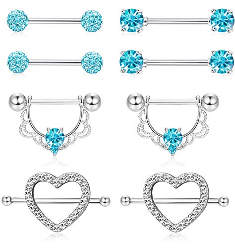 ORAZIO 4 Pairs 14G Stainless Steel Nipplerings Nipple Tongue Rings CZ Opal Barbell Body Piercing Jewelry Blue