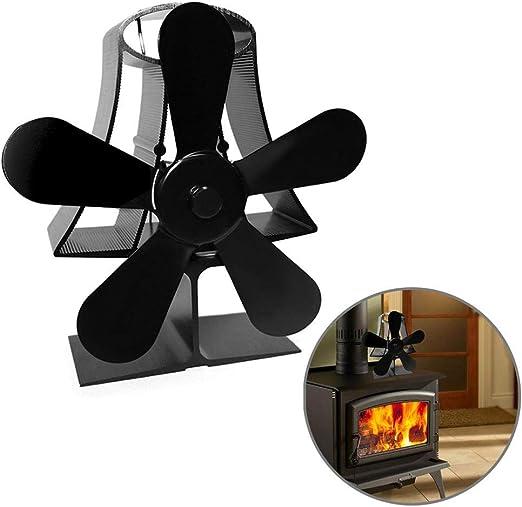 Molare Ventilador de 5 Palas para Estufa de leña o Chimenea,Ventilador de Estufa Calor con Madera Registro carbón Estufa Quemador,con Doble Motor térmico,distribución ...