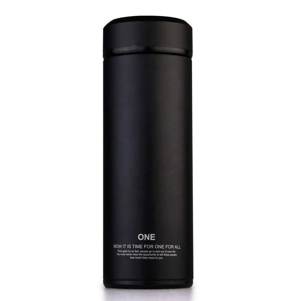 ブラック1つボトルステンレス鋼断熱コーヒーカップガラスライナー320 ml B072Q8H4Y6