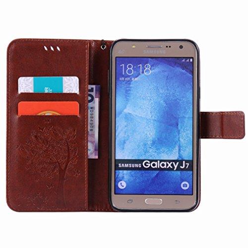Custodia Samsung Galaxy J7 J700 Cover Case, Ougger Alberi Gatto Printing Portafoglio PU Pelle Magnetico Stand Morbido Silicone Flip Bumper Protettivo Gomma Shell Borsa Custodie con Slot per Schede (Co