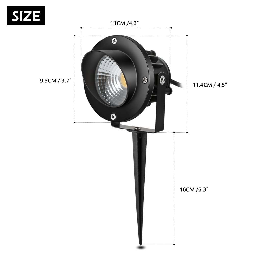 LemonBest Bright Outdoor Landscape LED Lawn Lamp Path Lighting 10w with AC Power Plug for Garden Pathway Courtyard Spot Light Soft Warm white