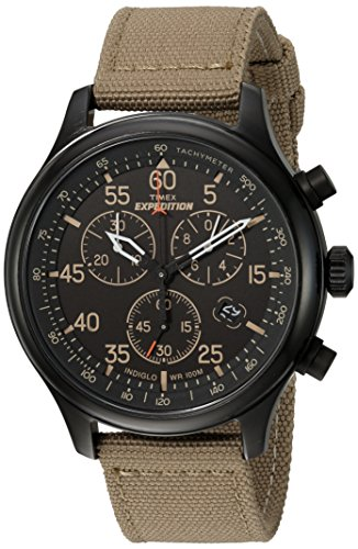Timex Men's TW4B10200 Expedition Field Chrono Tan/Black Canvas Strap Watch - Military Chronograph Pilot Watch