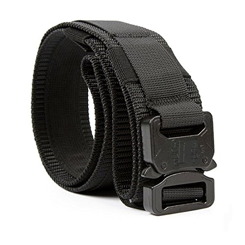 Black Nylon Swat Belt (Yisibo Tactical Waist Belt with Molle System Military Style Belt Nylon Belts Metal Buckle 1.5'' inch Black Tan M)