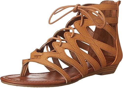 Rampage Women's Santini Cutout Lace-Up Open Toe Ankle Strap Gladiator Sandal,  Cognac , 7.5 M US