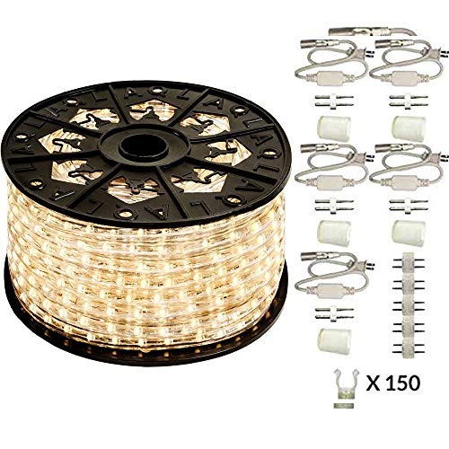 (AQL Dimmable Warm White LED Rope Light Deluxe Kit, 120 Volts, Full 360 Degrees LED 513PRO Diode, 150ft/Roll, Commercial Grade Indoor/Outdoor Rope Light, IP65 Waterproof )