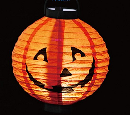 SYMWELL-Battery-Operated-Halloween-Decorative-Paper-Pumpkin-Lantern-Jack-O-LanternTissue-Paper-Lantern-Lamp-With-LED-lightPack-of-5-PCS