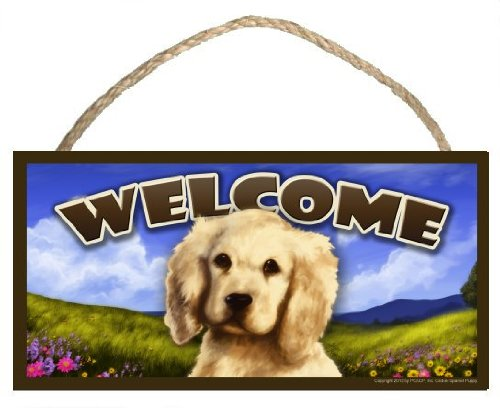 Cocker Spaniel Puppy Spring Season Welcome Wooden Dog Sign / Plaque featuring the art of Scott Rogers