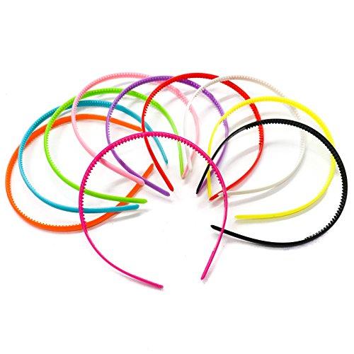 JETEHO 20 Pcs Cute Headband Plastic Hair Band Headband with Teeth Hair DIY Tool Candy Color ()