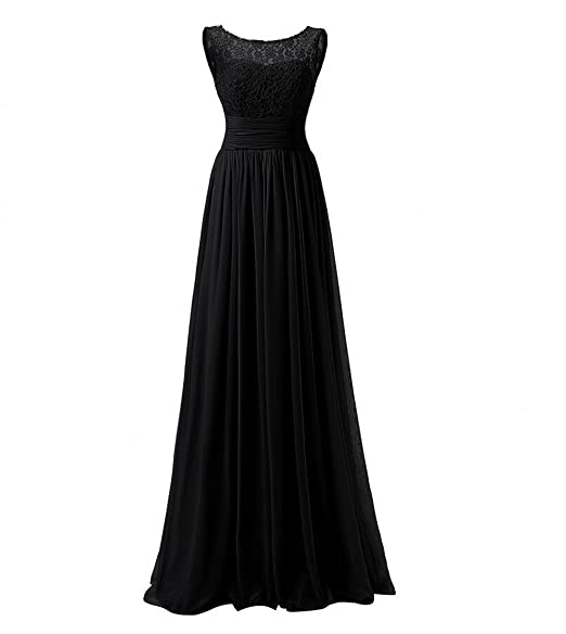 KA Beauty Womens Long Prom Dress Lace Chiffon Evening Dresses Black UK6