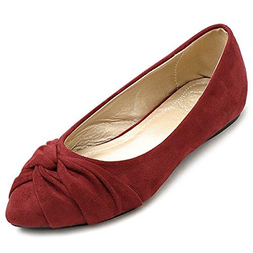 Flat Cute Ollio Faux Burgundy Comfort Knot Suede Shoe Women's Ballet qHxHZ7
