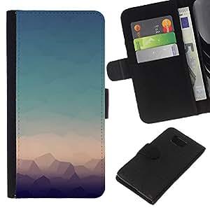 KLONGSHOP // Tirón de la caja Cartera de cuero con ranuras para tarjetas - Paisaje Ver Modern Art Horizonte - Samsung ALPHA G850 //