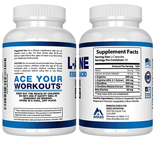 Premium L Arginine - 1340mg Nitric Oxide Booster with L-Citrulline & Essential Amino Acids for Heart and Muscle Gain | NO Boost Supplement for Endurance and Energy | 60 Capsules by Arazo Nutrition (Image #2)