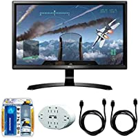 LG 24 16:9 4K UHD (3840 x 2160) FreeSync IPS Monitor (24UD58-B) with 2x General Brand HDMI to HDMI Cable 6, Xtreme 6 Outlet Wall Tap w/ 2 USB Ports White & Xtreme TV/LCD Screen Cleaning Kit
