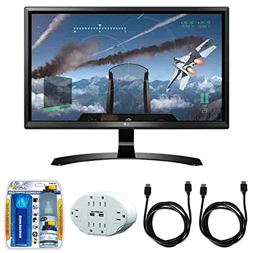 LG 24' 16:9 4K UHD (3840 x 2160) FreeSync IPS Monitor (24UD58-B) with 2x General Brand HDMI to HDMI Cable 6', Xtreme 6 Outlet Wall Tap w/ 2 USB Ports White & Xtreme TV/LCD Screen Cleaning Kit