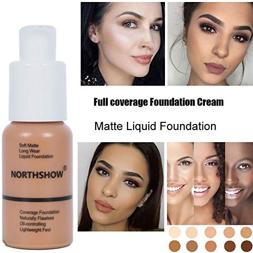 Matte Flawless Foundation Oil Control Full coverage Foundation Cream, Long Lasting Waterproof Liquid Concealer for Women Girls, 101 Porcelain-30ml