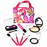 Click N' Play CNP0272 Pretend Play Cosmetic and Makeup Set with Floral Tote Bag
