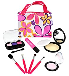 Click N\' Play Pretend Play Cosmetic and Makeup Set with Floral Tote Bag