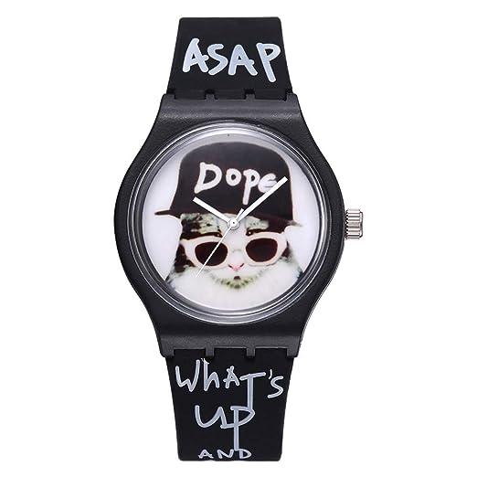 Reloj Hombre Mujer Chicos Chicas Letras Gato Sin Números Banda de Silicona de Cuarzo analógico - Blanco: Amazon.es: Relojes