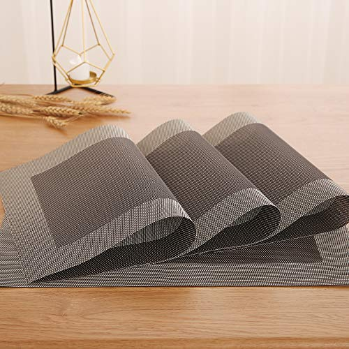 (Deconovo Placemats Stain Resistant Anti-Skid Place Mats Double-Faced Crossweave Woven Placemats Non-Slip Placemat Dining Table Mats for Kitchen Table 12 W x 18 L Inch Chocolate and White Set of 4)