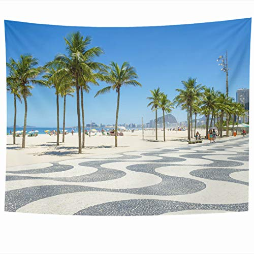 (Ahawoso Tapestry 60 x 50 Inches View Beach Bright Scenic Morning Iconic Boardwalk Day Parks Copacabana Brazil Rio Palm Promenade Wall Hanging Home Decor Tapestries for Living Room Bedroom Dorm)