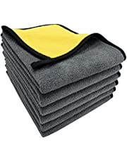 VAIYNWOM Set van 6 microvezeldoeken, auto-onderhoud, polijstdoek, zeer zachte microvezelhanddoeken, 550 g/m², lakvriendelijk, pluisvrij, voor het reinigen van auto, motorfiets, binnenreiniging, 30 x 40 cm (± 1 cm)