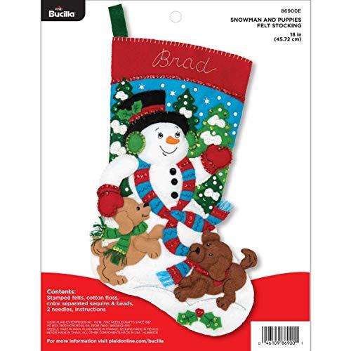 "Bucilla 86900E Felt Applique Christmas Stocking Kit, 18"",  Snowman and Puppies from Bucilla"