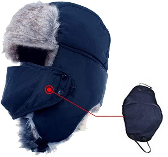 Cold Weather Trapper Hat Winter Reflective Warm Ski Hats with Face Mask Ear Flap