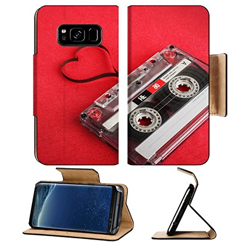Luxlady Premium Samsung Galaxy S8 Flip Pu Leather Wallet Case IMAGE ID 31166678 Vintage audio cassette with loose tape shaping a heart ()