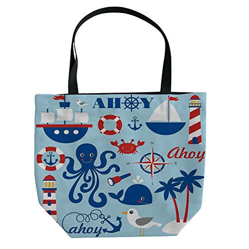 s Shoulder Bag High-Capacity,Sea Objects Collection Palm Trees Octopus Spyglass,Graph Customization Design ()