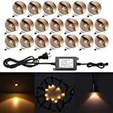 20pcs QACA Recessed Deck Lights Low Voltage LED Yard Lighting 1-1/25'' Half Moon Aluminum Outdoor Wood Deck Lighting Yard Garden Patio Stair LED Light Decoration Lamps Bronze, Warm White