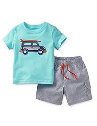 LONSOEN Little Boys' Summer 2 Piece Soft Cotton Clothing Short Sets