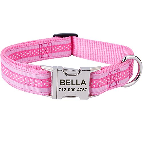 Personalized Dog Collar,Customized Dog Collars with Pet Name & Phone Number - Polkadot Pattern with Two Tone Color Collars for Girl & Boy Dogs - 3 Size for Small,Medium,Large,Pink/Pink