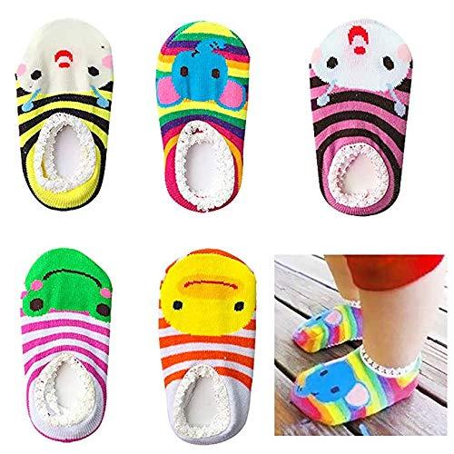 Bassion 5 Pairs Baby Socks Non Slip Newborn Infant Cute Baby Ankle Cotton Socks Skid Toddler Gripper Socks for 6-18 Months