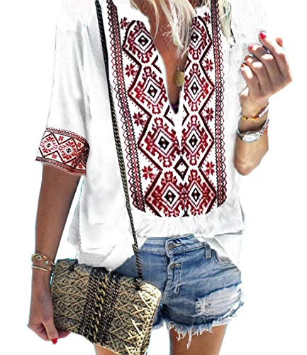 Mansy Women's Summer V Neck Boho Print Embroidered Shirts Short Sleeve Casual Tops Blouse White
