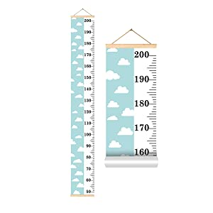 TYHON Kids Growth Chart Baby Handing Ruler Wall Decors Wood and Fabric Height Measure Scale Home Decorations for Boys Girls 8.27x60.0''