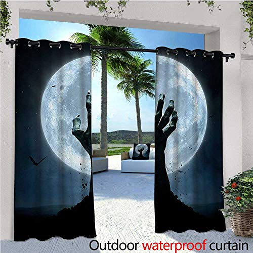 Halloween Outdoor Privacy Curtain for Pergola Realistic Zombie Earth Soil Full Moon Bat Horror Story October Twilight Themed Thermal Insulated Water Repellent Drape for Balcony W120