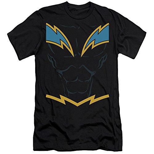 Justice League Of America DC Black Lightning Armor Costume Adult Slim T-Shirt (Martian Manhunter Costume)