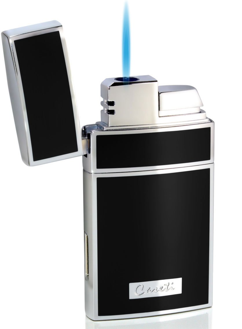 Visol Caseti Troy Black Lacquer Single Torch Flame Cigar Lighter