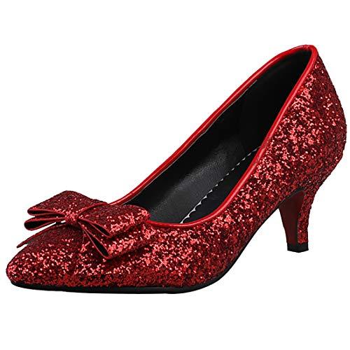 Artfaerie Womens Sequin Pointed Toe Kitten Heel Pumps Glitter Bows Wedding Bridal Dress Court Shoes (US 8.5, - Kitten Glitter Heels Red