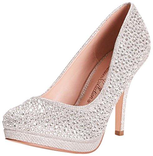 David's Bridal allover Crystal Pumps Style CROBIN125, Silver Metallic, (Womens Metallic Bridal Shoes)